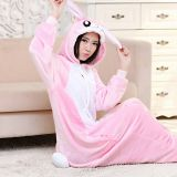 Rabbit Cartoon Flannel Conjoined Polyester Pajamas