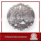 Professional Die Cast Factory Old Style And Round Shape Embossed Metal Dubai Souvenir Custom Fridge Magnet