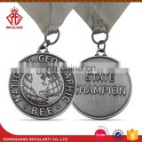 Antique Finish National GEO Graphic Medal with Sublimated Ribbon
