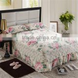 Fashion design wholesale korean style decoration cotton bedspread set cheap queen bedskirt