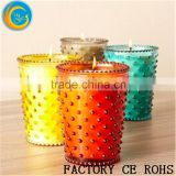 Online /Colored Hobnail Shaped Glass Candle Burns/Glass Votive Holder/Glass Candle Jars For Wedding