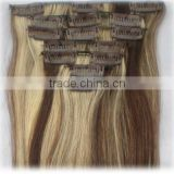Brazilian 100% remy human hair for New Year's gift,clip in hair extension
