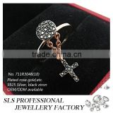 2015 guangzhou sheng lei shi jewelry limited fashionable sterling 925 silver cross black finger ring for lady