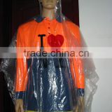 Single time adult plastic emergency poncho/PE Material and Raincoats Type Disposable Custom Printed
