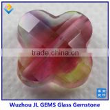 Fashion synthetic glass gem stone four leaf clover stone for making glsaa jewelry