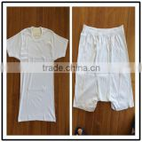 Promotion plain clothes sets white summer clothing sets wholesale t-shirt/shorts set manufacturer 2pcs outfits adult pajamas