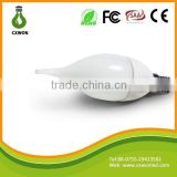 Popular ceramic 110v 220v 3528 e14 frosted candle shaped lamp with tail