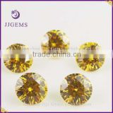 Good shining round brilliant cut gold yellow 2mm cz loose stone