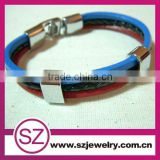 stainless steel leather bracelets with magnet clasp