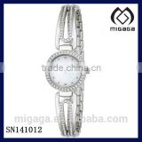 silver plated elegant bangle watch for women quartz movement