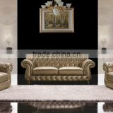 Classical Real Leather Chesterfield Sofa / victorian style leather sofa / leisure modern new america style sofa F23