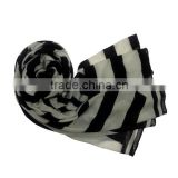 white and black printed polyester designer scarf