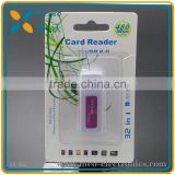 China factory supplier cheapest price high speed USB 2.0 mini SD card reader adapter