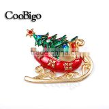 Fashion Charming Jewelry Bling Christmas Tree Red Sled Rhinestone Pin Brooch Wedding Christmas Party Gift Apparel Accessories
