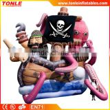 most popular Pirate Scene inflatable jumper slide, giant inflatable Octopus slide , inflatable Devilfish combo