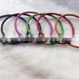 Wholesale colourful 3mm real cow leather braided bracelet with love shape stainless steel clasp for men/women/chil