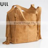 School Large Soft Hobo fringe camel shoulder women genuine leather utility custom tote bag