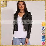 BLACK FAUX LEATHER CROSS DETAIL BIKER JACKET                                                                         Quality Choice