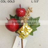 "2014 Fresh Artificial Christmas Gold Flower Pick 5.5"" Artificial Fruit Flower With Berries And Leaf"
