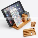 Universal Bamboo Charging Stand Holder for Apple Watch iPhone Samsung Smartphone iPad Tablets