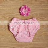 pink baby bloomers with cute rufflers