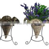 Banana leaf and Corn rope Star Cone planter stand -Cone flower pot stand