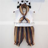 2016 New Design Short Pants Suit T-shirt and Shorts Scarf 3 Pieces Clothing Sets for Baby Girls