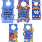 new design embossed words engraved stripe 2D soft pvc door hanger