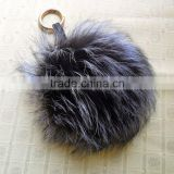 High Quality Real Raccoon/Fox fur Ball Keychain with Reasonable Price by Manufacture Direct Sale
