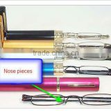 Hot sell 2012 glod mini slim metal reading glasses with case