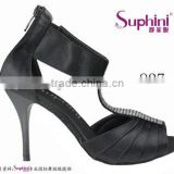 black satin with Rhinestone/crystal stone fashionable and comfortable ladies tango dance shoes