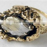 14k Gold Black Silver Baroque Pearl Freeform Nugget Ring