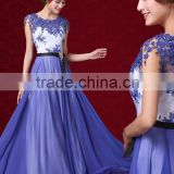 Alibaba Elegant Long New Designer Cap SLeeve Blue Color Chiffon Beach Lace Evening Dresses Or Bridesmaid Dress LE26