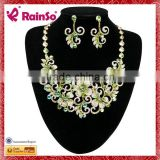 Hot Sale Beautiful Fashion Green Shiny CZ diamond pearl bridal jewelry set