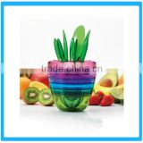 Multifunction Flowerpot Shaped Plastic Salad Maker With Intergrated Bowl,Squeezer,Cutter And Fork Set