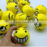 PU emoji stress ball; pu smiley ball;smiley face stress ball;hot sale; kids toy balls; yellow and small