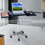 Black Foldable Laptop desk Rolling Tray Workstation Desktop computer table