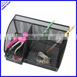 High quality 6 divided compartment black metal mesh desk organizer with drawer