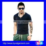 wholesale High Quality V Neck T Shirt Short Sleeve For Men T Shirts Plaint Cotton T Shirt