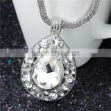 Fashion Jewelry Necklace Teardrop Lantern Chain Silver Tone With Glass Cabochons Clear Rhinestone 46.8cm long