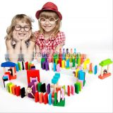 wholesale cheap 120pcs colored educational wooden dominos rally toy game set