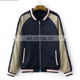 New design Women's Bomer Jacket Baseball Jacket Nylon Jacket flight Jacket with Folwer Embroidery