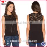 Black Lace with Half Sheer Material Images of Ladies Casual Tops