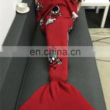 Holiday Promotional Gift Handcrafted Crochet Blankets Knitted Pattern Mermaid Tail Blankets Sleeping Bag for Adult