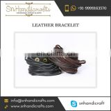 Fashionable Hand-Made Real Leather Bracelet Wristband for Men and Boys for Groovy Appearance
