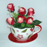 Decal glazed flower garden  ceramic flower pot  and saucer panter