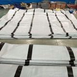 WHITE PE TARPAULIN WITH BLACK BANDS