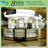 Retail store fixtures cosmetic kiosk with glass shelves