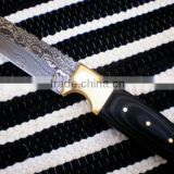 "udk h90"" custom handmade Damascus hunting / Tanto knife with sheet and brass bolster handle"