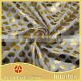 Popular gold foil printing fabric / nylon polyester elastane foil fabric                                                                         Quality Choice